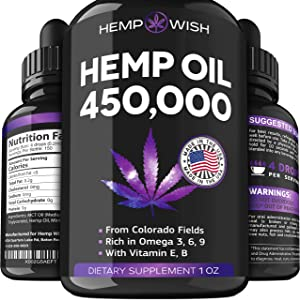 Hemp Oil 450,000 - Improved Formula - Made in The USA - Hemp Seed Oil for Stress & Anxiety Relief - Natural Sleep Aid - Mood & Immunity Boost - Rich in Omega 3, 6, 9