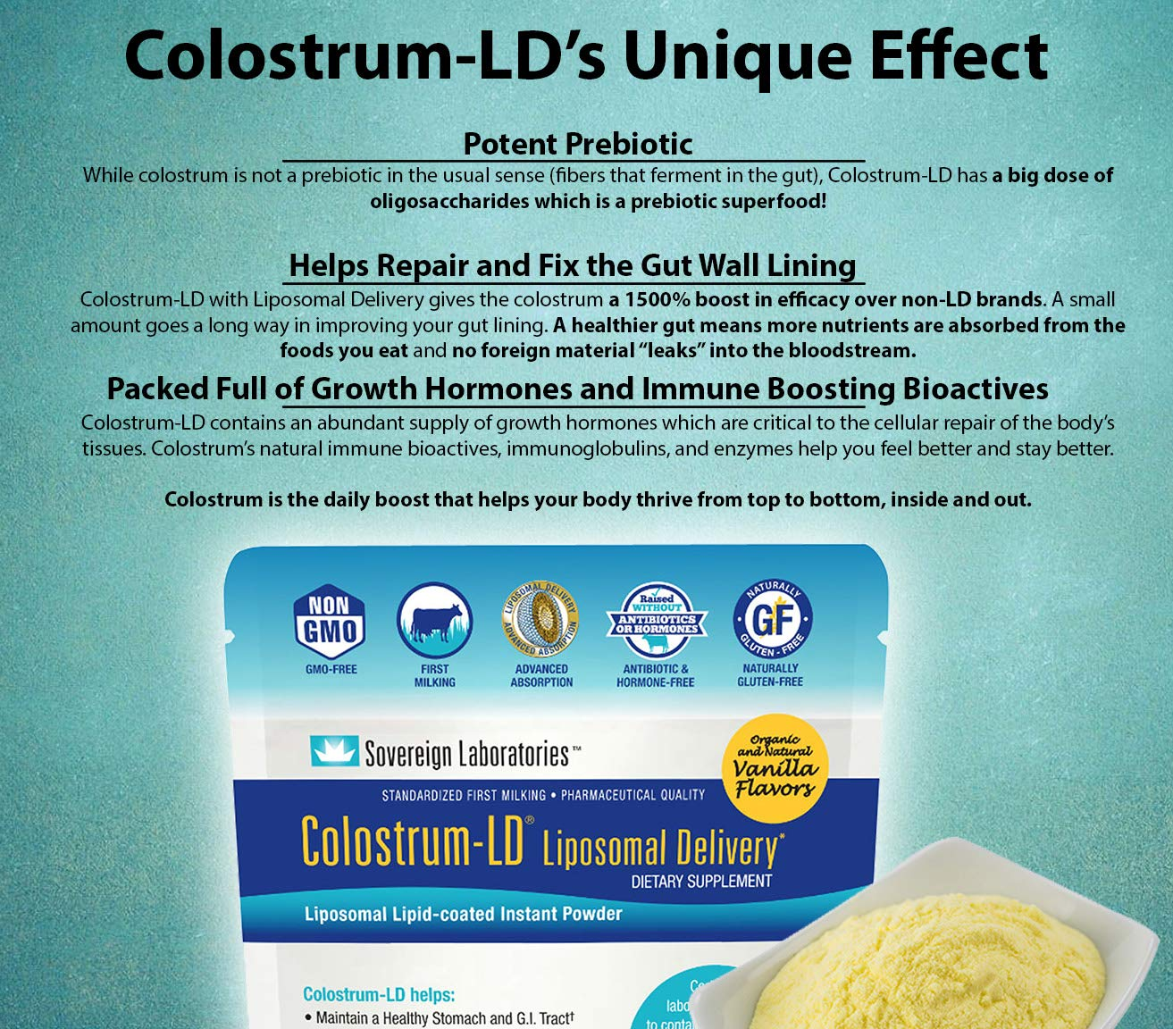 Shelf Stable Pre and Probiotic - Liposomal Colostrum Enhanced. Stomach Pain Relief,  Suppresses Bad Bacteria. Lets Beneficial Strains Colonize, Improve Gut Health, Designed For Adult Women and Men