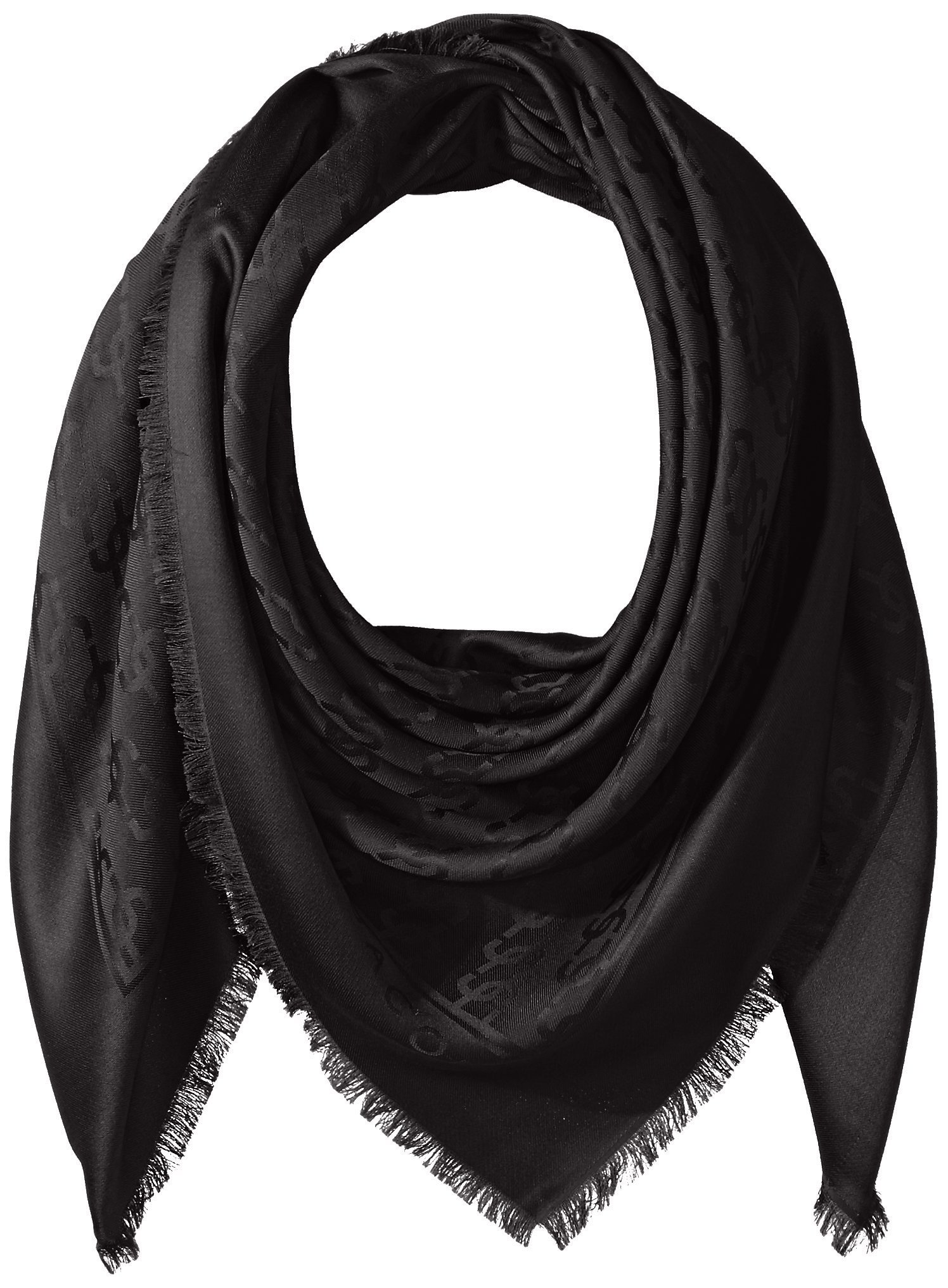 Marc Jacobs Women's Solid Monogram Logo Shawl Black One Size