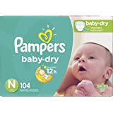 Diapers Newborn / Size 0 (< 10 lb), 104 Count - Pampers Baby Dry Disposable Baby Diapers, Super Pack
