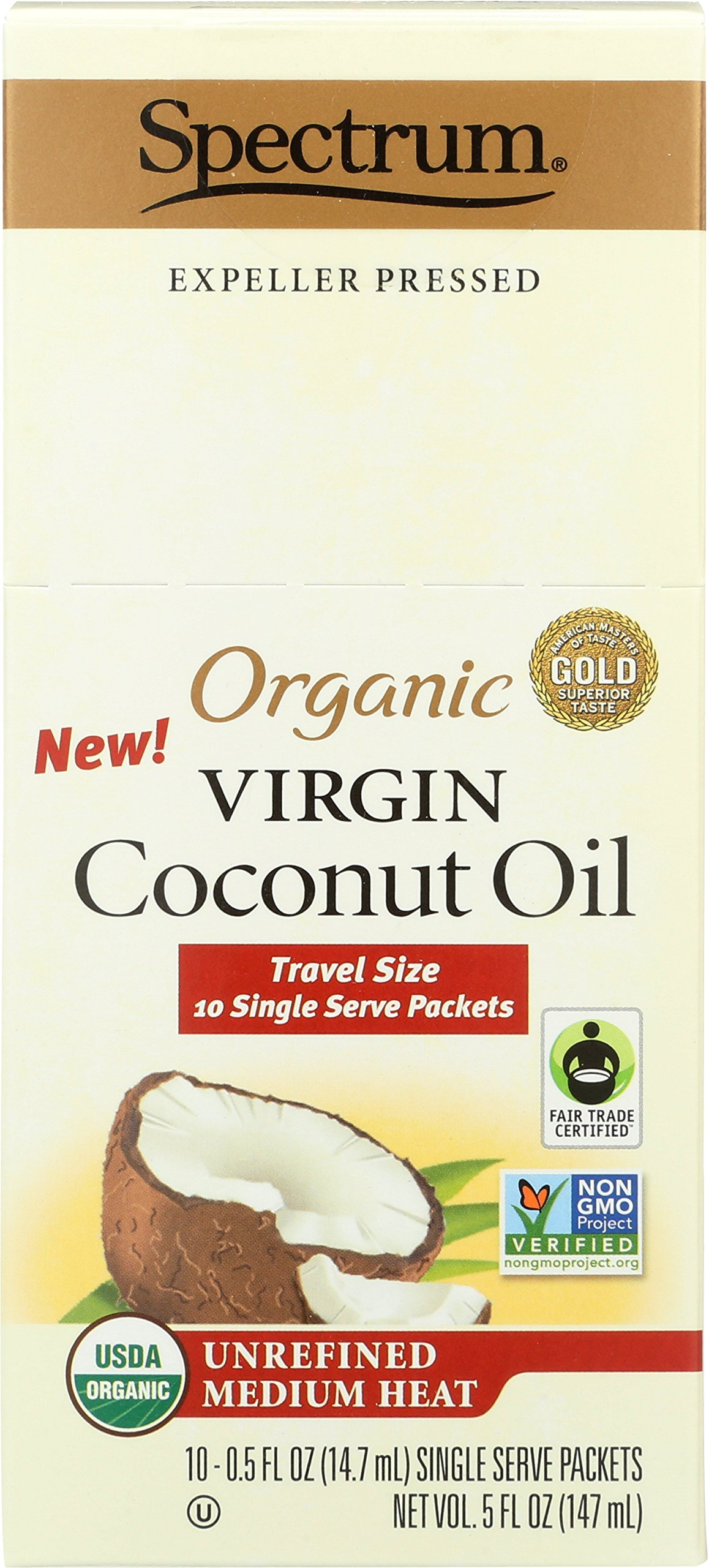 Spectrum Organic Unrefined Virgin Coconut Oil Packets, 10 Count