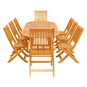 VIFAH V144SET26 9 Piece Outdoor Wood Dining Set With Oval Extension And Foldable  Chairs
