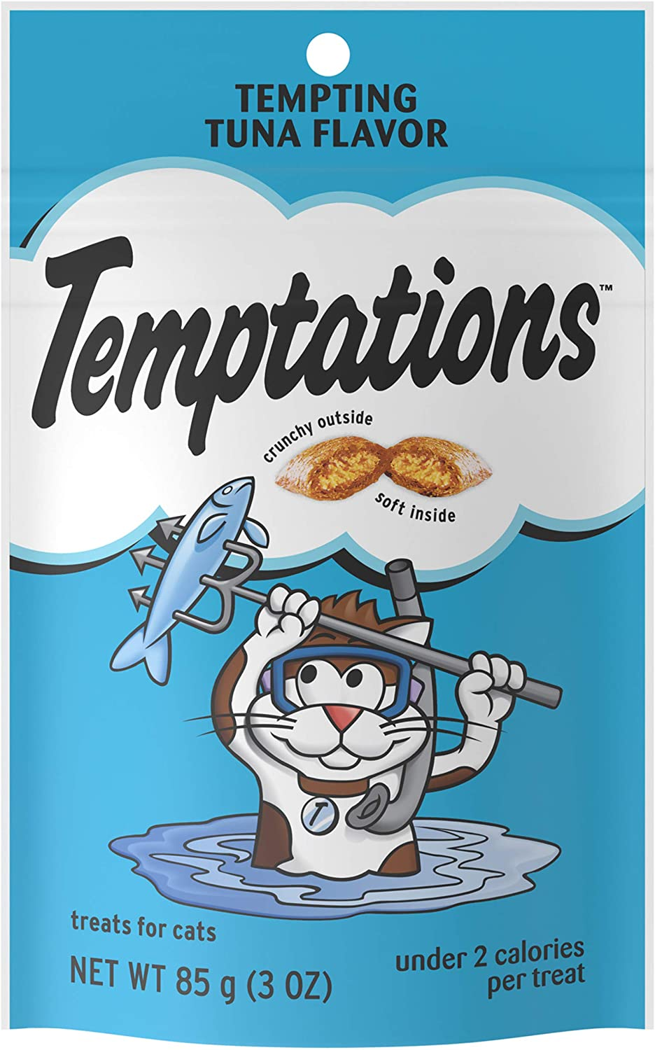 TEMPTATIONS Classic Crunchy and Soft Cat Treats Tempting Tuna Flavor, 3 oz. Pouch (Pack of 12)