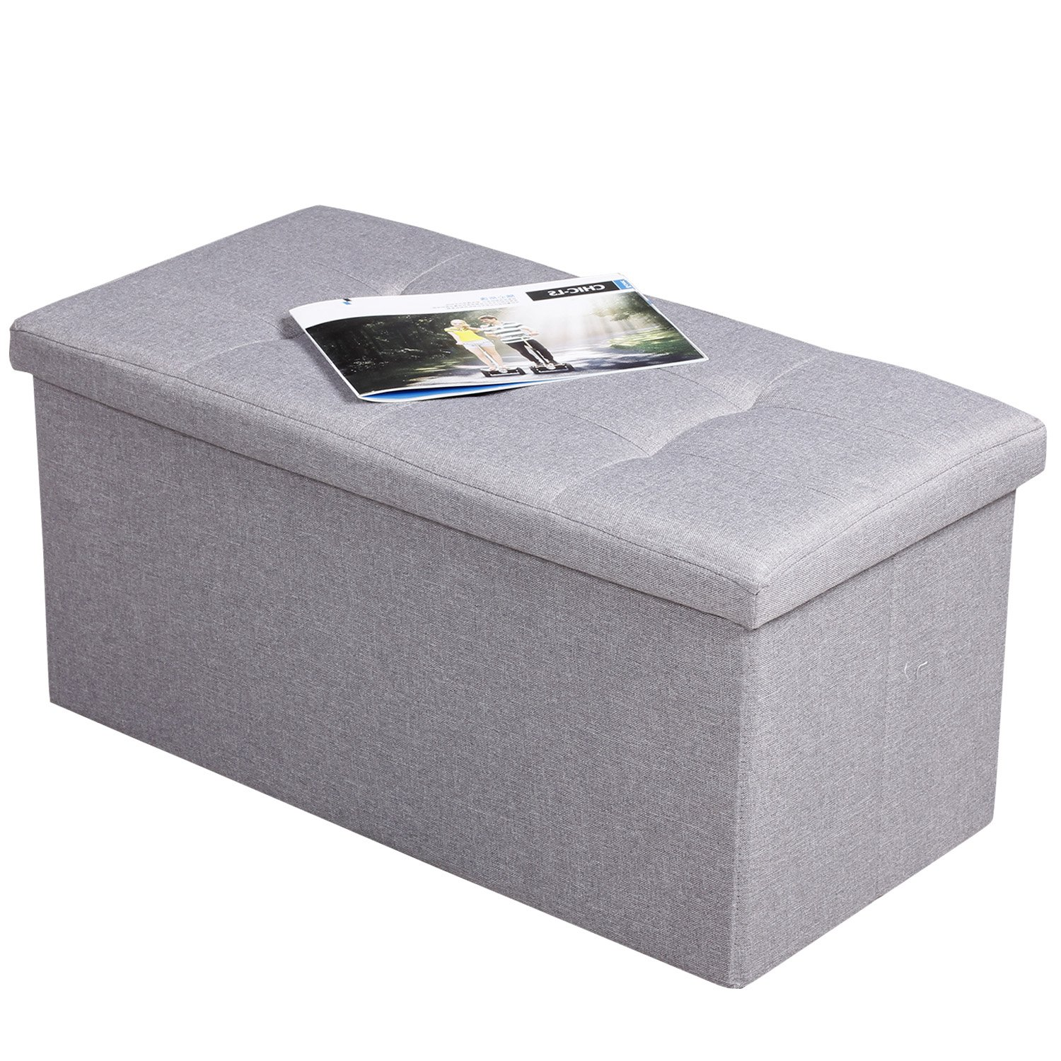 EPCTEK Storage Ottoma Linen Folding Stool,Storage Cube Basket Bins Organizer Containers, Coffee Table Cube, Camping Fishing Stool, Quick and Easy Assembly, Perfect for Child,30''x15''x15'' Cube.(Grey)