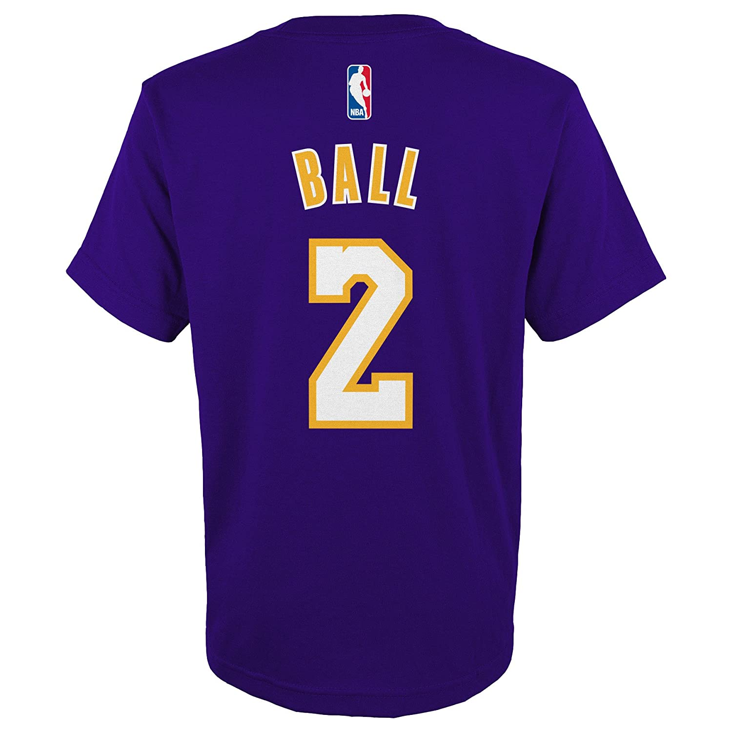 low cost 90a8a 86b69 Lonzo Ball Los Angeles Lakers Youth Purple Name and Number Player T-shirt