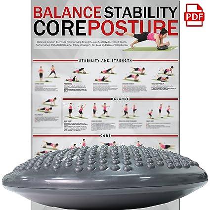 POWRX - Cojín de equilibrio para yoga y pilates (37 cm) + ...