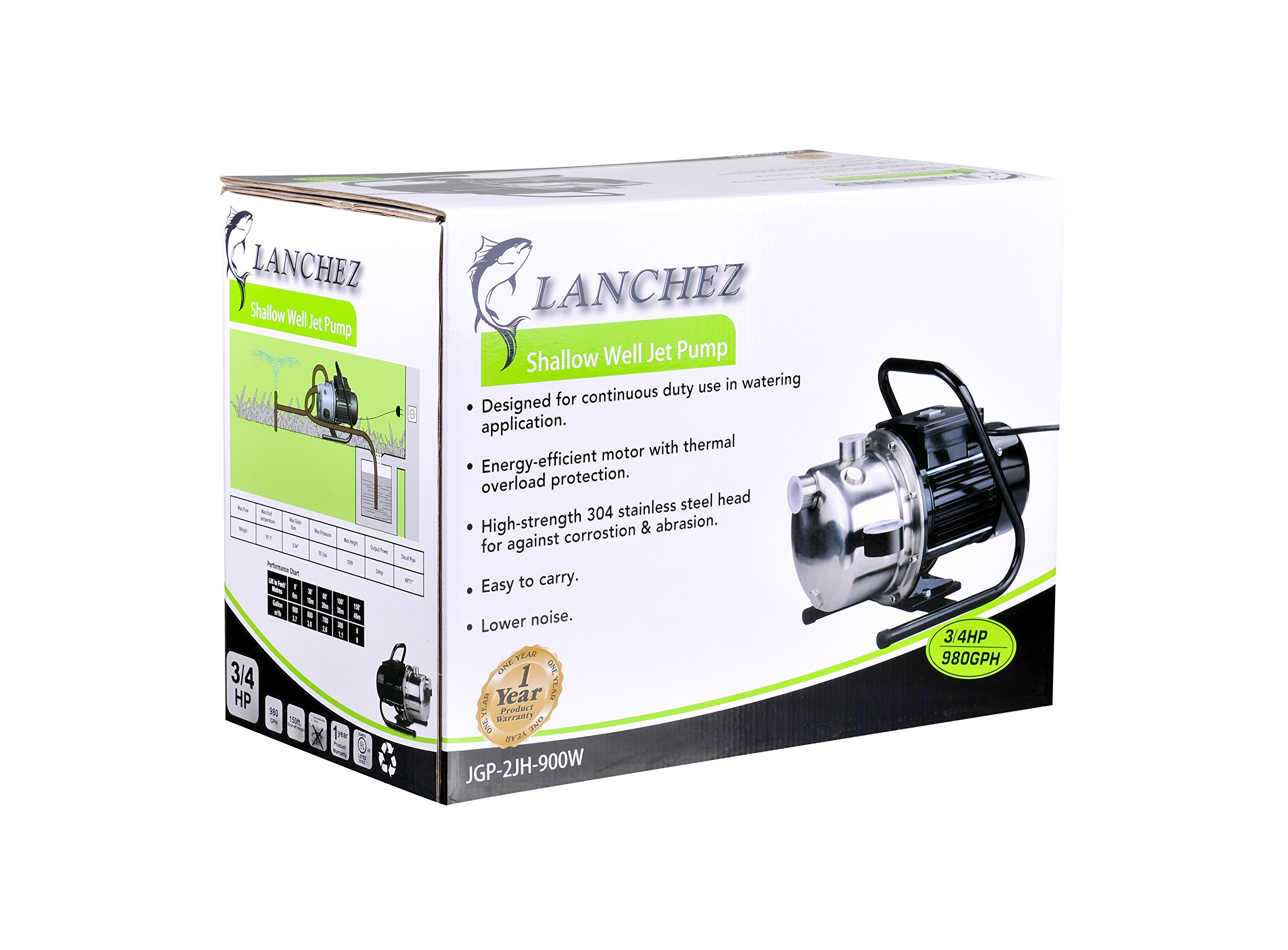 Lanchez JPG9007WU INOX 3/4 Hp Portable Stainless Steel and Cast Iron Utility Shallow Well Jet Water Pump with Pressure Gauge for Clean Water 25 Feet