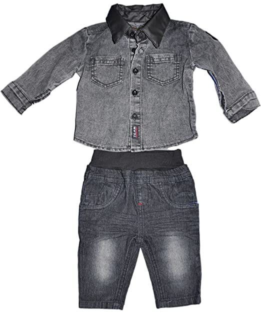 chicaprie conjunto bebé niño  camisa y pantalón jeans fbg16006 negro 24  meses   Amazon.es  Ropa y accesorios fb6595e9e3f