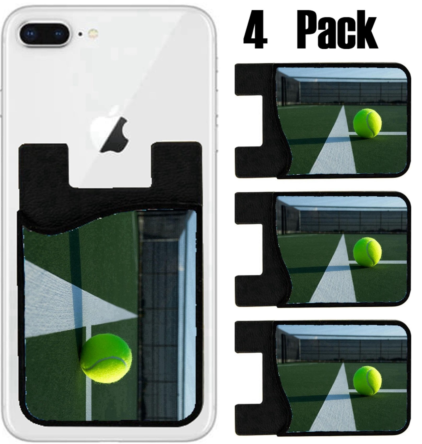 MSD Phone Card holder, sleeve/wallet for iPhone Samsung Android and all smartphones with removable microfiber screen cleaner Silicone card Caddy(4 Pack) Tennis Ball Close up with Court Lines IMAGE 188