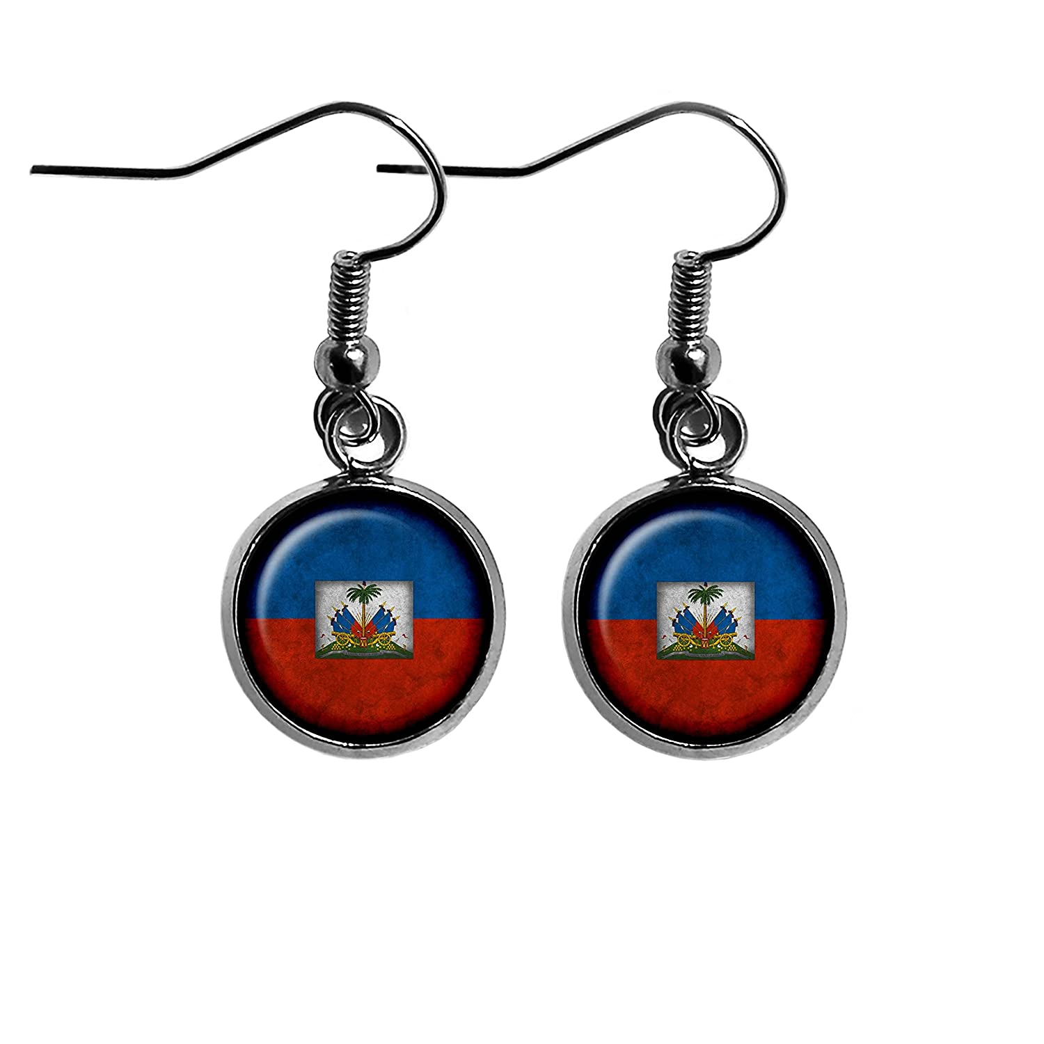 Haiti Haitian Flag Surgical Steel Earrings