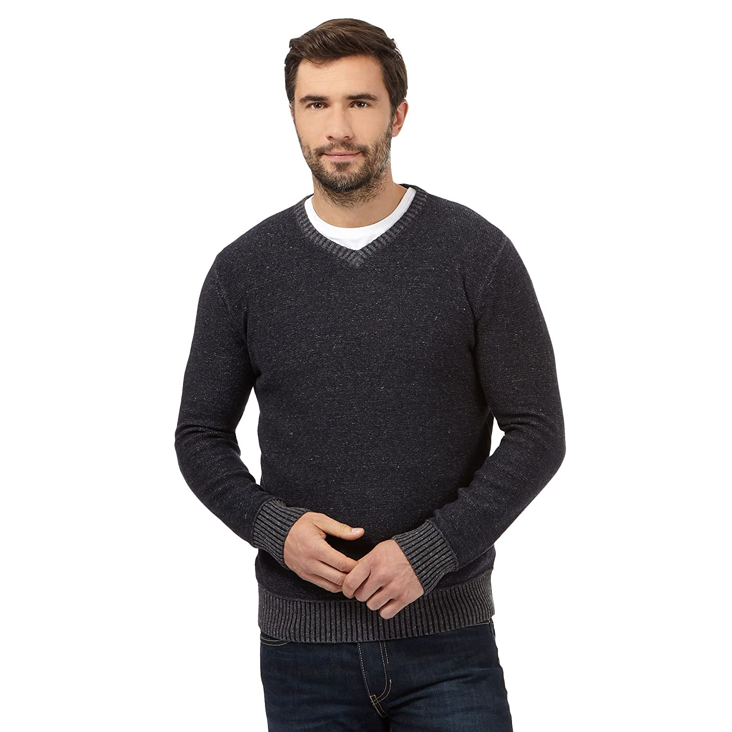 Mantaray Mens Dark Grey Marl V Neck Jumper