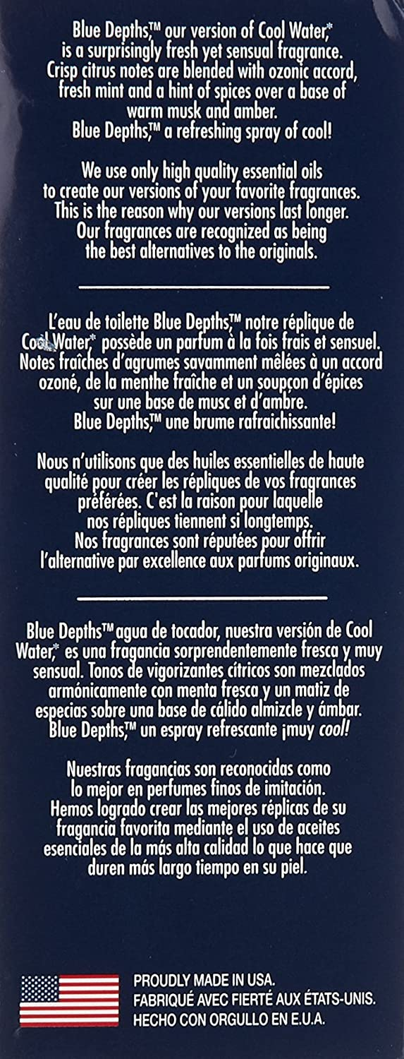 Amazon.com : Blue Depths, version of Davidoff Cool Water Eau de Toilette Spray for Men, 2.5 oz : Eau De Toilettes : Beauty