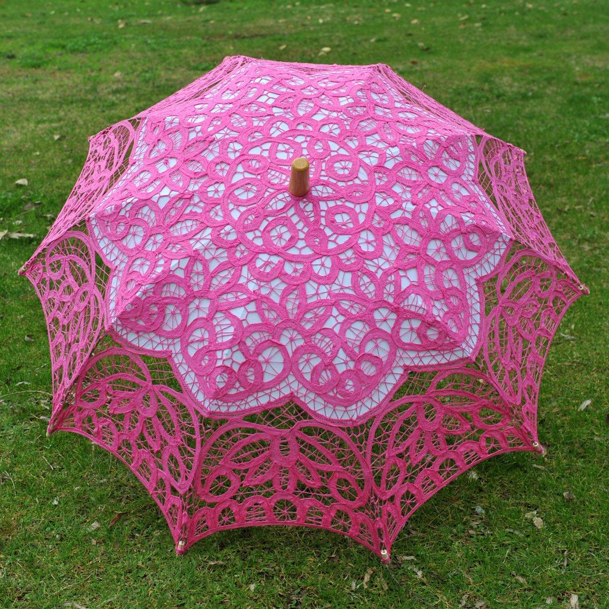 Topwedding Classic Cotton Lace Parasol Umbrella Bridal Shower Decoration, Fuschia by Topwedding (Image #8)