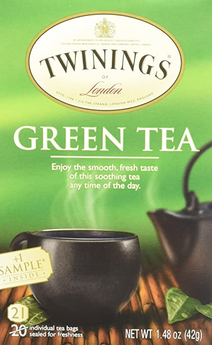 Twinnings Green Tea, 1.48 Ounce Box 20 individual tea bags with 1 sample tea bag