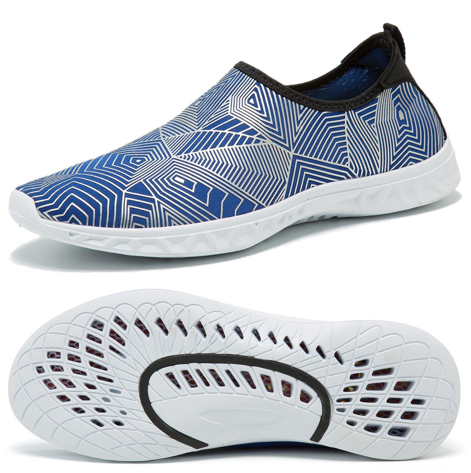 RUNSOON Men Women Water Shoes for Beach Swim Diving Aqua Sport Boating Sailing Surfing Walking Yoga Exercise, S06 Silver Blue 46