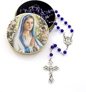Religious Blessed Mother Praying Virgin Mary Rosary Gift Set. Includes Madonna in Prayer Jewelry Box Tin Case and Blessed Mother Pearl Sapphire Blue Silver Metal Rosary