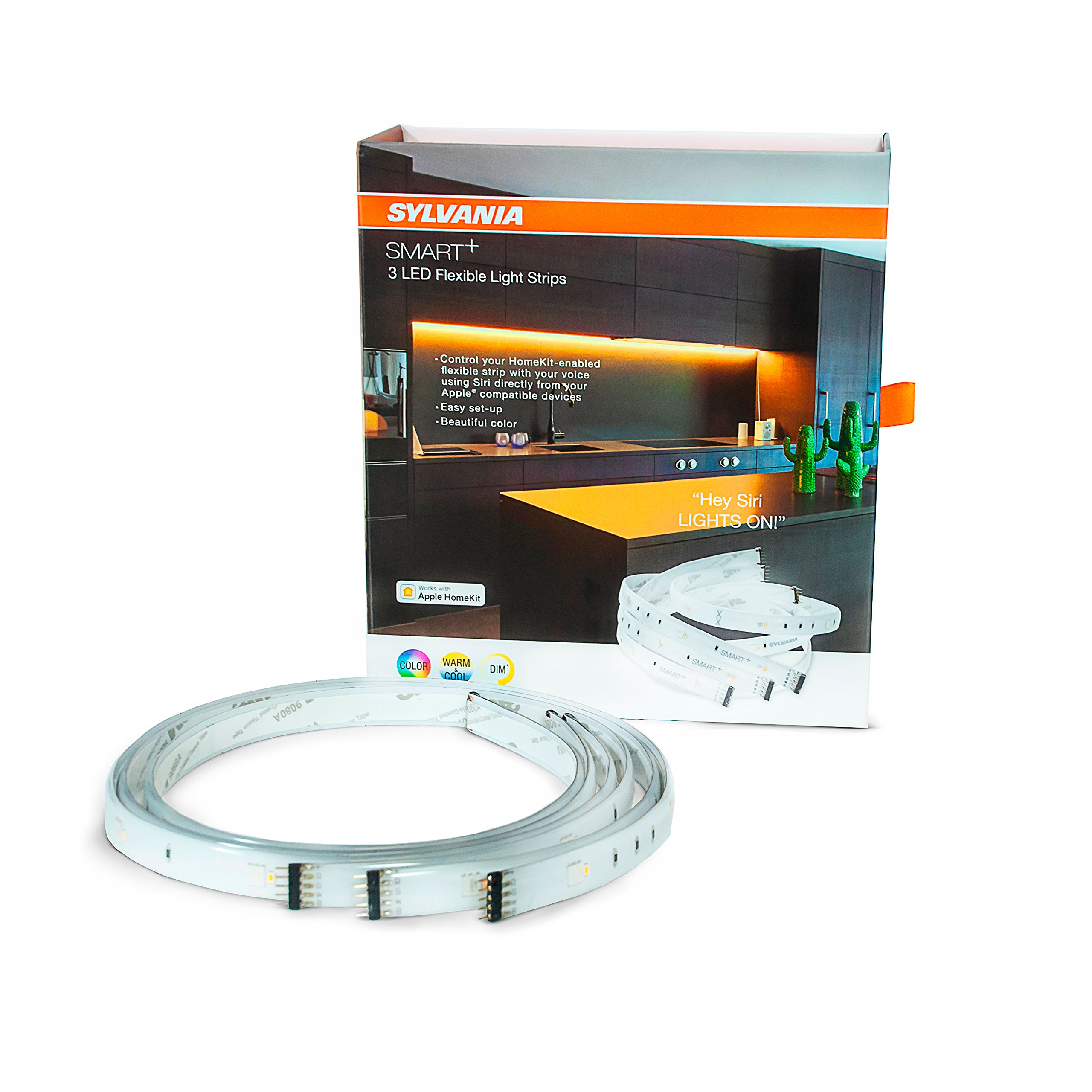 Sylvania Smart Home 74521 Full Color LED Flex Strip, Works with Apple HomeKit and Siri Voice Control, No Hub Required, Adjustable White