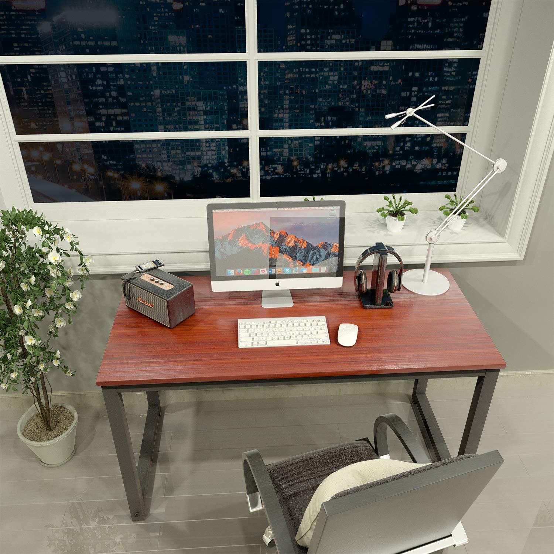 Computer Desk 47'' Mordern Sturdy Office Desk Study Writing Desk for Home Office, Coleshome, Teak by Coleshome (Image #5)
