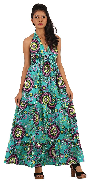 THS Womens Girls Beach Casual Sexy Backless Sleeveless Dress - Halter Maxi Style