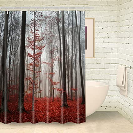 FOOG Fog Forest Shower Curtains Red Lacdscape Tree Shower Curtain