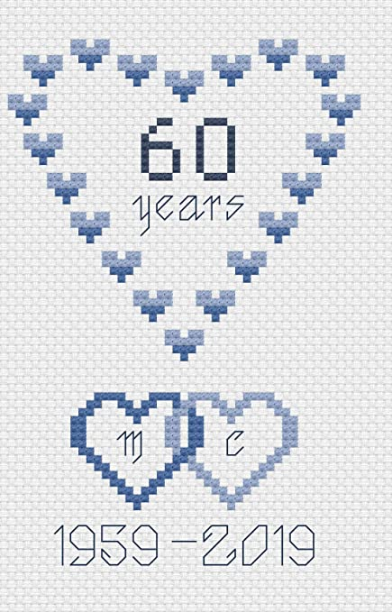 cross stitch kit 16 aida Silver Wedding Anniversary card