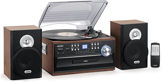 Jensen 3-Speed Turntable Music System Limited Edition JTA475W LCD Display with Front Loading CD Player , AM/FM Stereo Radio, Cassette Player ,Aux ...