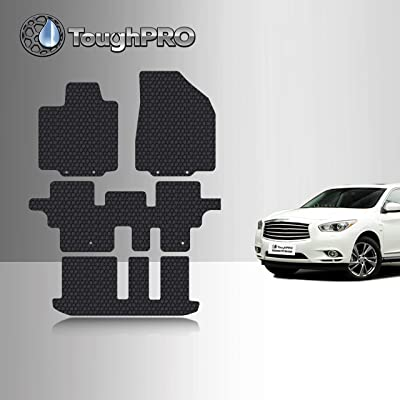 TOUGHPRO Floor Mat Accessories 1st + 2nd + 3rd Row Compatible with Infiniti QX60 - All Weather - Heavy Duty - (Made in USA) - Black Rubber - 2014, 2015, 2016, 2020, 2020, 2020, 2020: Automotive