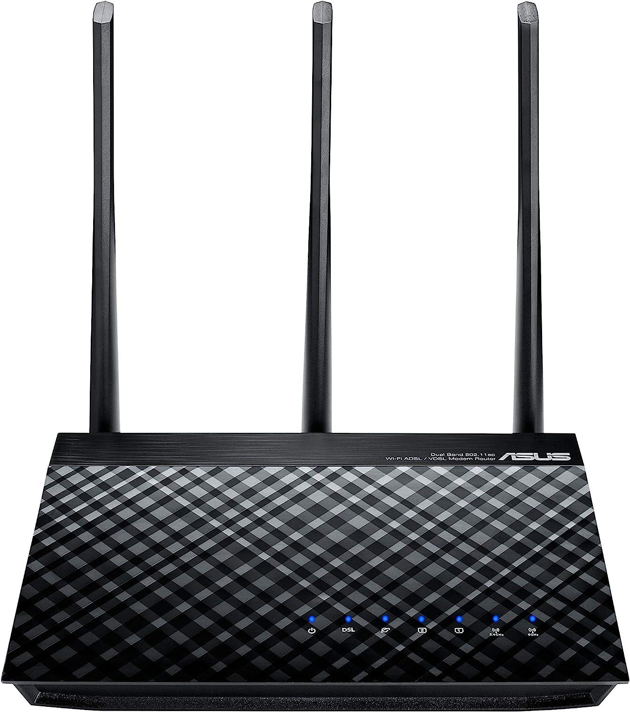 ASUS DSL-AC51 - Módem Router ADSL/VDSL AC750 Dual Band (2 Puertos Gigabit, Control Parental, ASUS Router App)