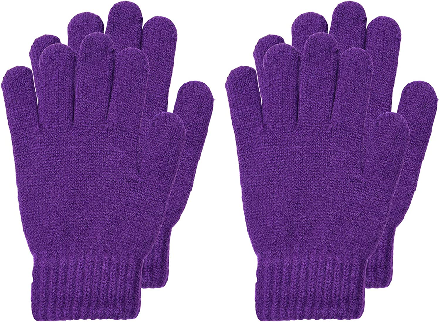 Cooraby 3 Pairs Kids Winter Gloves Thick Cashmere Warm Knitted Gloves Children Cold Weather Gloves