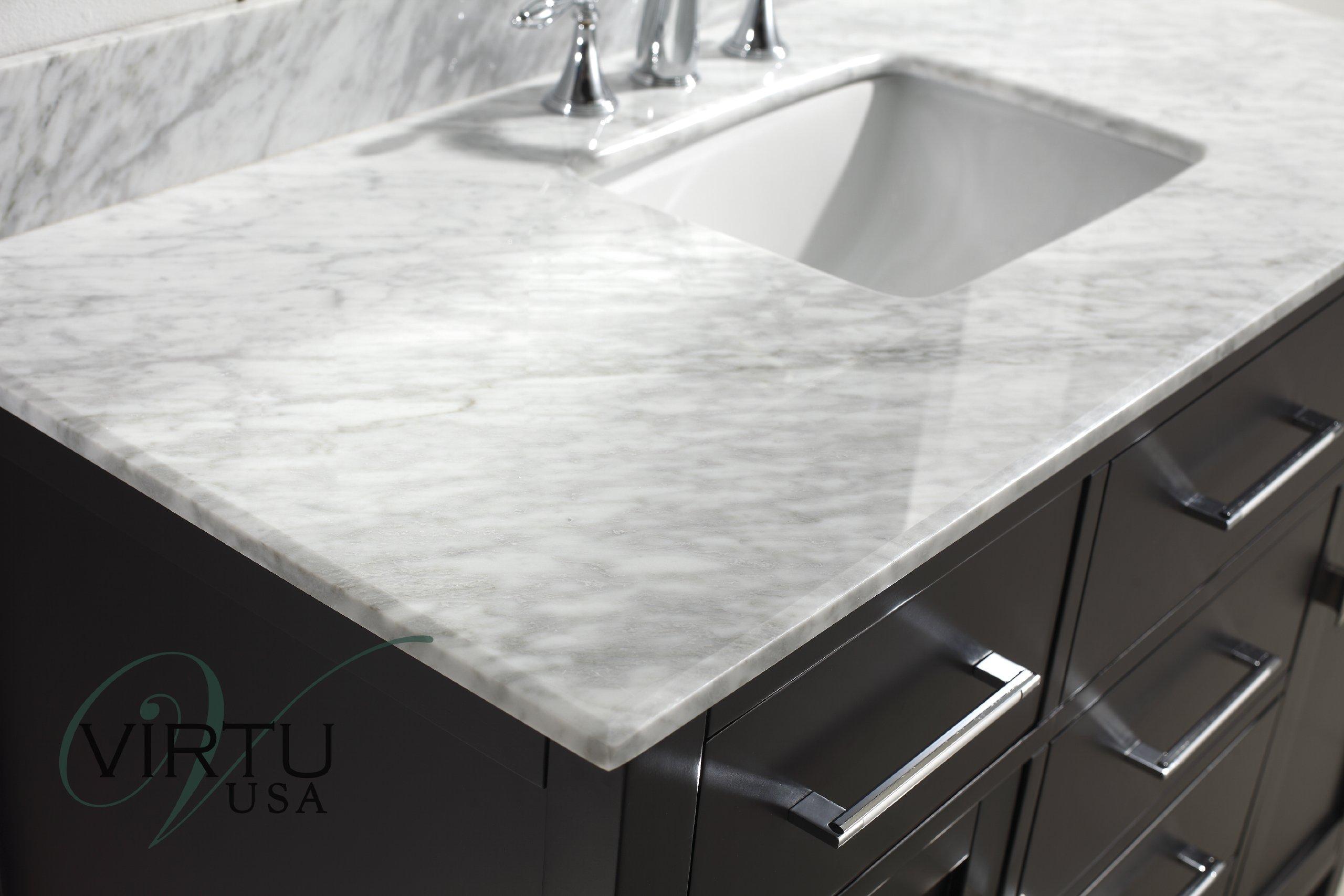 Virtu USA MS-2048-WMSQ-ES Caroline 48-Inch Bathroom Vanity with Single Square Sink in Espresso with Italian Carrera Marble Countertop