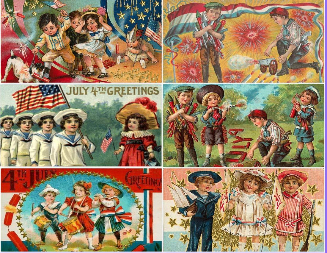 Cardstock Vintage Victorian 4th of July Kids Children Postcard Collage Sheet decoupage Scrapbooking Ephemera