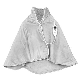 VIDABELLE VD-4596 Wärme-Cape in hell grau, Heizdecke zum Rüberlegen für Rücken, Nacken und Schulter, Wärmedecke mit 6 Tempera