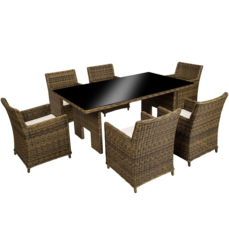 TecTake Hochwertige Luxus Aluminium Poly Rattan Garten Essgruppe rostfrei | 6 Stühle + Tisch mit Glasplatte (195x109cm) | natur braun