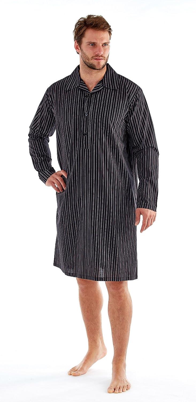 Mens Night Shirt Traditional Striped Nightshirt Yarndyed Warm