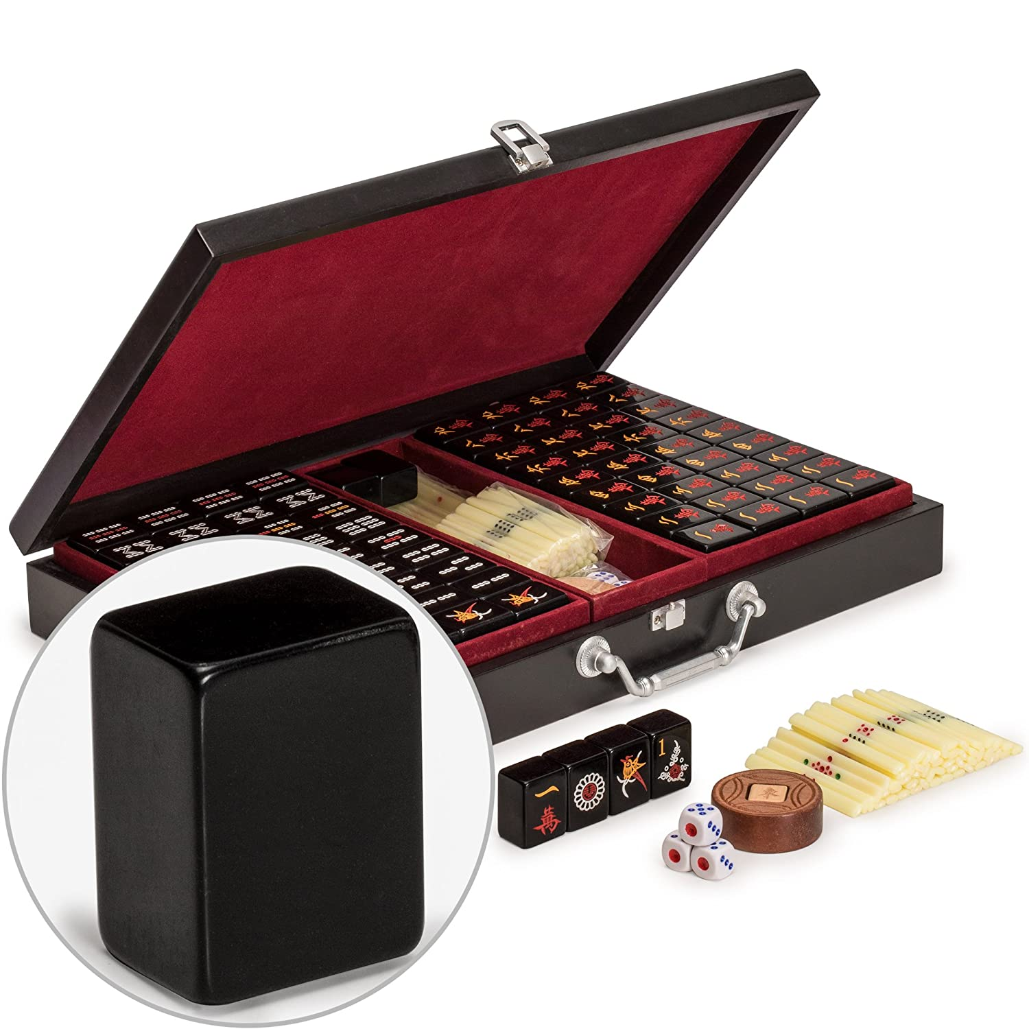 for Chinese Style Gameplay Only Set of Scoring Sticks Yellow Mountain Imports Chinese Mahjong Set Jet Set with Wooden Case Dice /& Wind Indicator