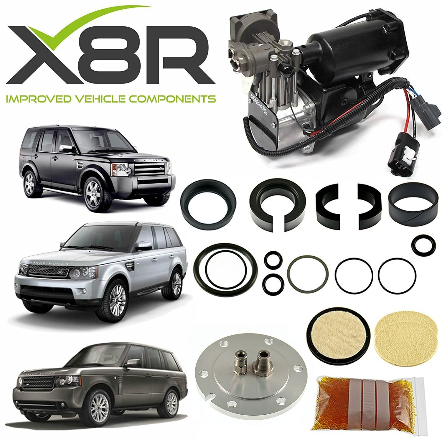 LAND ROVER RANGE ROVER SPORT 2005-2013 HITACHI AIR COMPRESSOR AND FILTER DRYER REPAIR KIT PART: X8R44