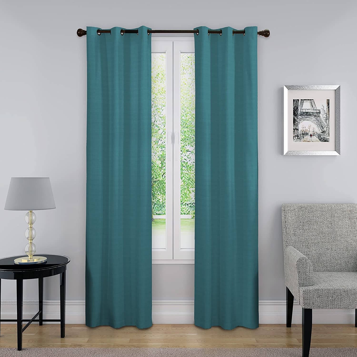 Amazon Com Eclipse Blackout Curtains For Bedroom Nikki 40 X 63 Insulated Darkening Single Panel Grommet Top Window Treatment Living Room Peacock Home Kitchen