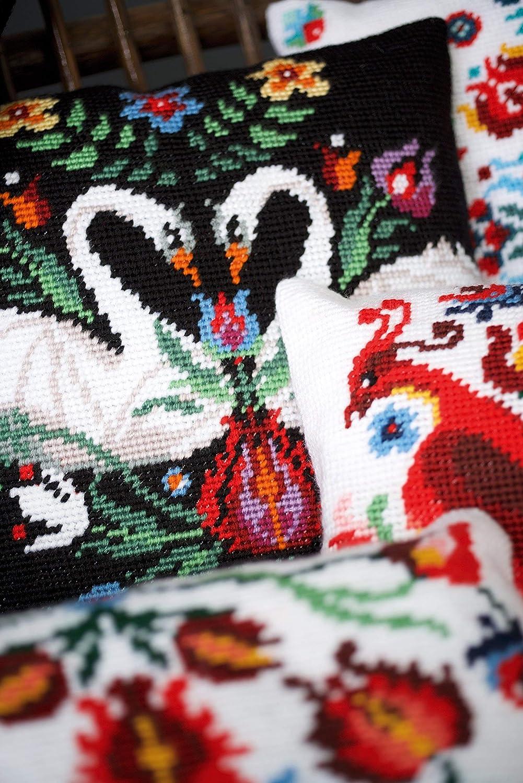 Vervaco Zara Stickbild vorgezeichnet Gobelinkissen Stickpackung vorbezeichnet Mehrfarbig Baumwolle 40 x 40 x 0,3 cm