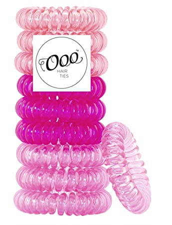Painless PATENTED OOO Hair Ties. Ponytail holder spiral coil no traceless  rubber bands. Best 0e58efb6b33