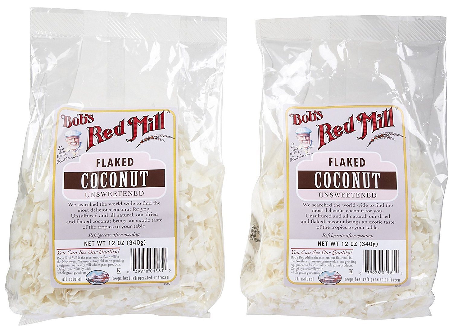Bob's Red Mill Unsweetened Flaked Coconut - 12 oz - 2 pk