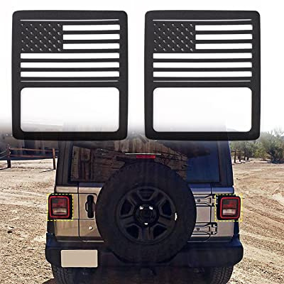 RT-TCZ Aluminum Black Rear Taillights Light Guard Tail Light Cover For 2020 Jeep Wrangler JL Sport/Sports - Pair(US Flag): Automotive