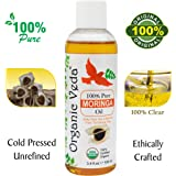 ORGANIC MORINGA PREMIUM OIL - COLD PRESSED (100ml 3.4 fl.oz). 100% Natural and Pure Oil. USDA Certified Organic