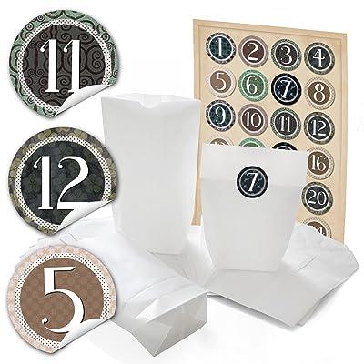'24 bolsas de papel (14 x 22 x 5,6 cm) y 24 pegatinas redondas 4 cm Vintage,etiqueta Calendario de Adviento Números de 1 a 24 para la ADVENT de Adviento para manualidades y rellenar; 1 A calidad.: Oficina y papelería