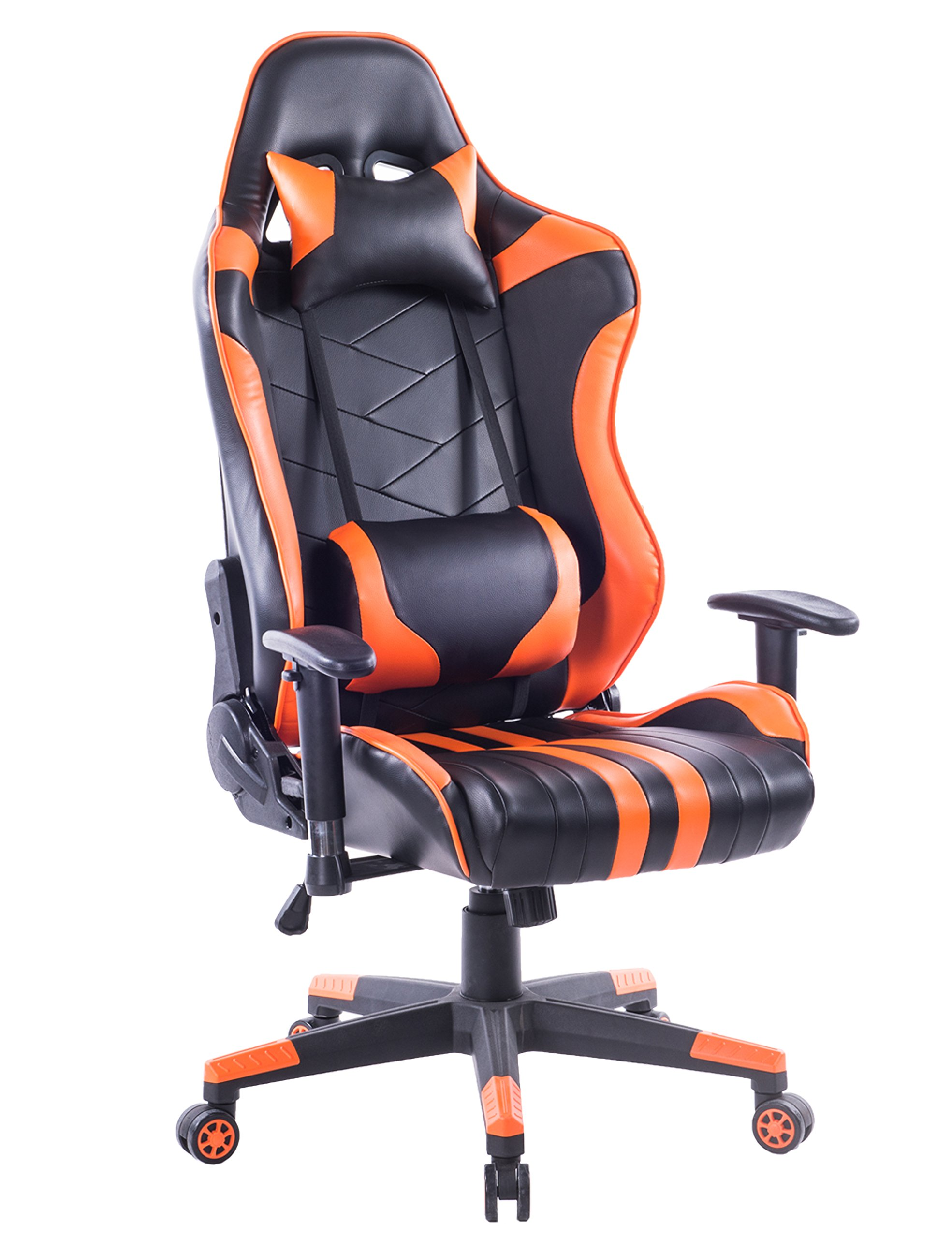 Killbee Large Size PVC Ergonomic Reclining Racing Chair Executive Office Chair with Headrest and Lumbar Support (Orange)