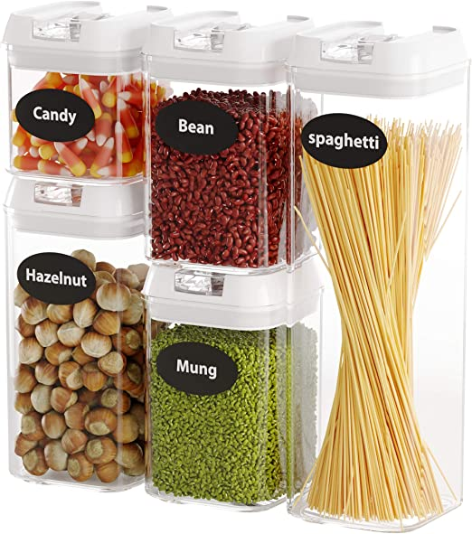 Food Storage Containers with Lids, 5 Pieces Set Airtight Food Containers , Interchangeable Lock Design