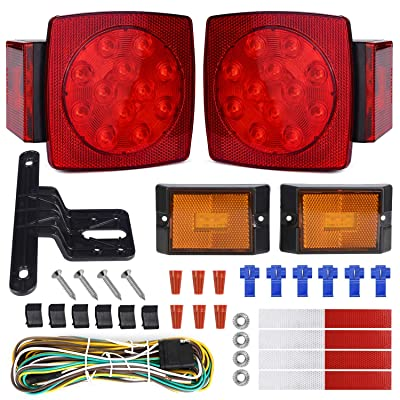 WoneNice LED Submersible Trailer Tail Light Kit, Combined Stop, Taillights, Turn Function, DOT Compliance, IP67 Waterproof and Fully-Submersible: Automotive