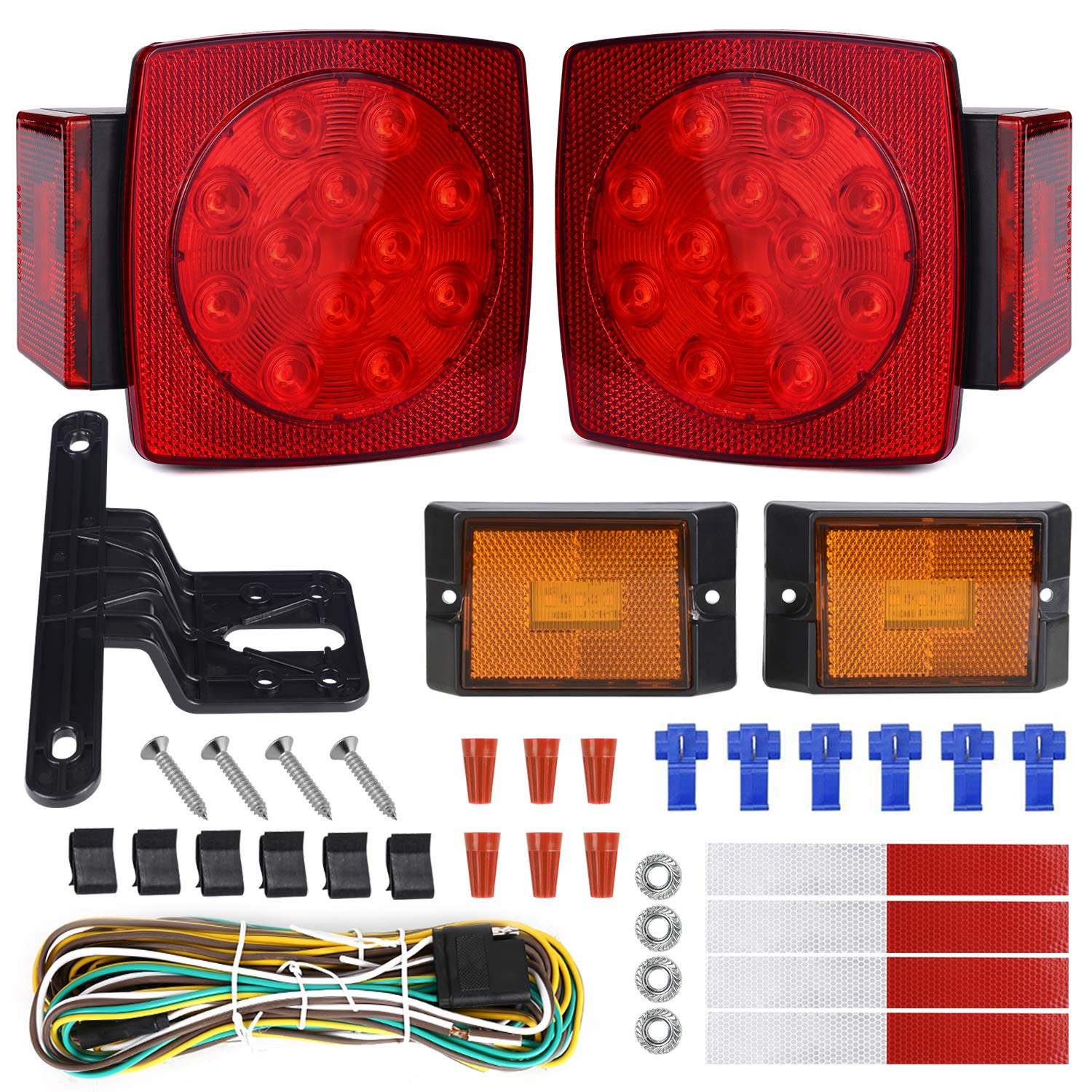WoneNice LED Submersible Trailer Tail Light Kit, Combined Stop, Taillights, Turn Function, DOT Compliance, IP67 Waterproof and Fully-Submersible by WoneNice