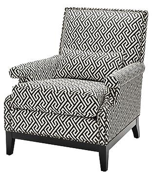Casa Padrino Luxus Sessel Schwarzweiß 75 X 85 X H 93 Cm Hotel