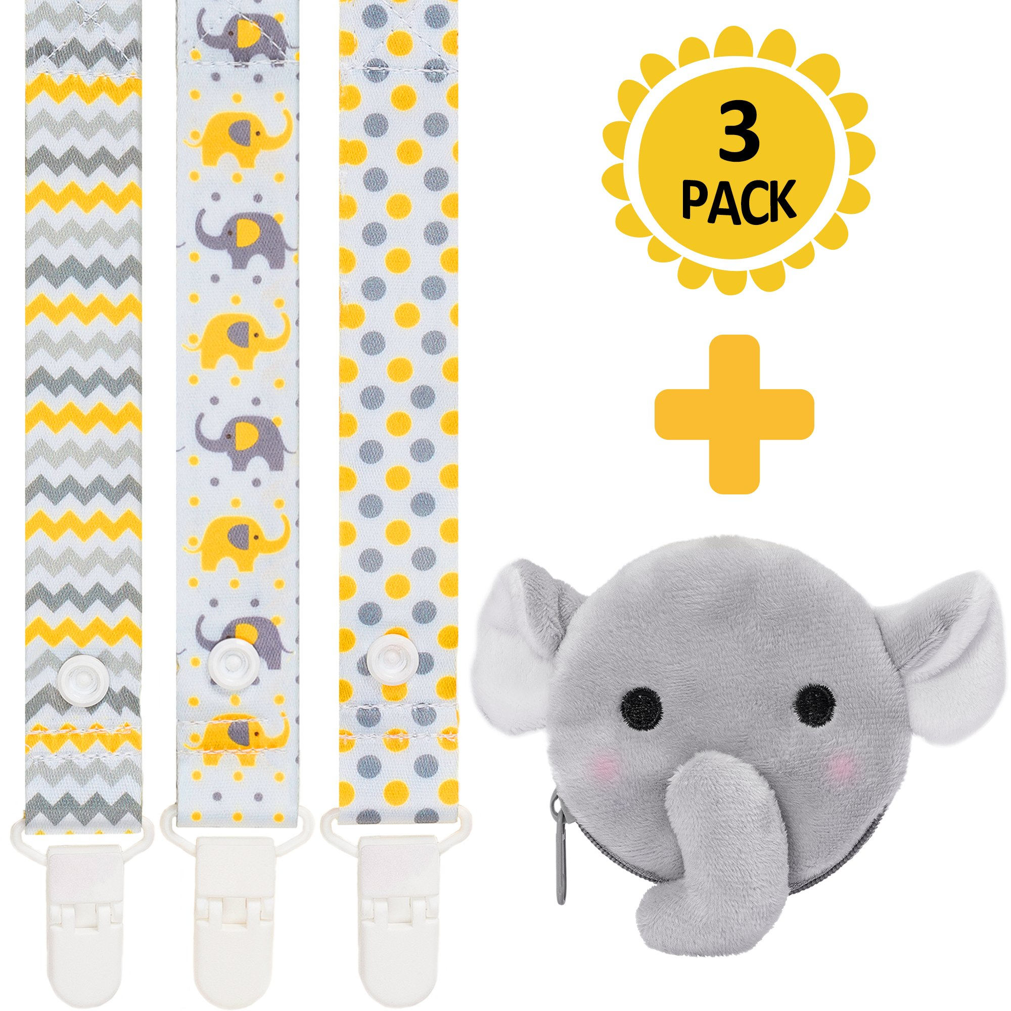 4-in-1 Pacifier Clips+Antibacterial Pacifier Holder by Moskka-Set of 3 Universal Pacifier Clips&Paciafier Pocket/Case Infant Teething Ring&Toys Holder for Baby Boy And Girl-Baby Shower Gift-Elephant