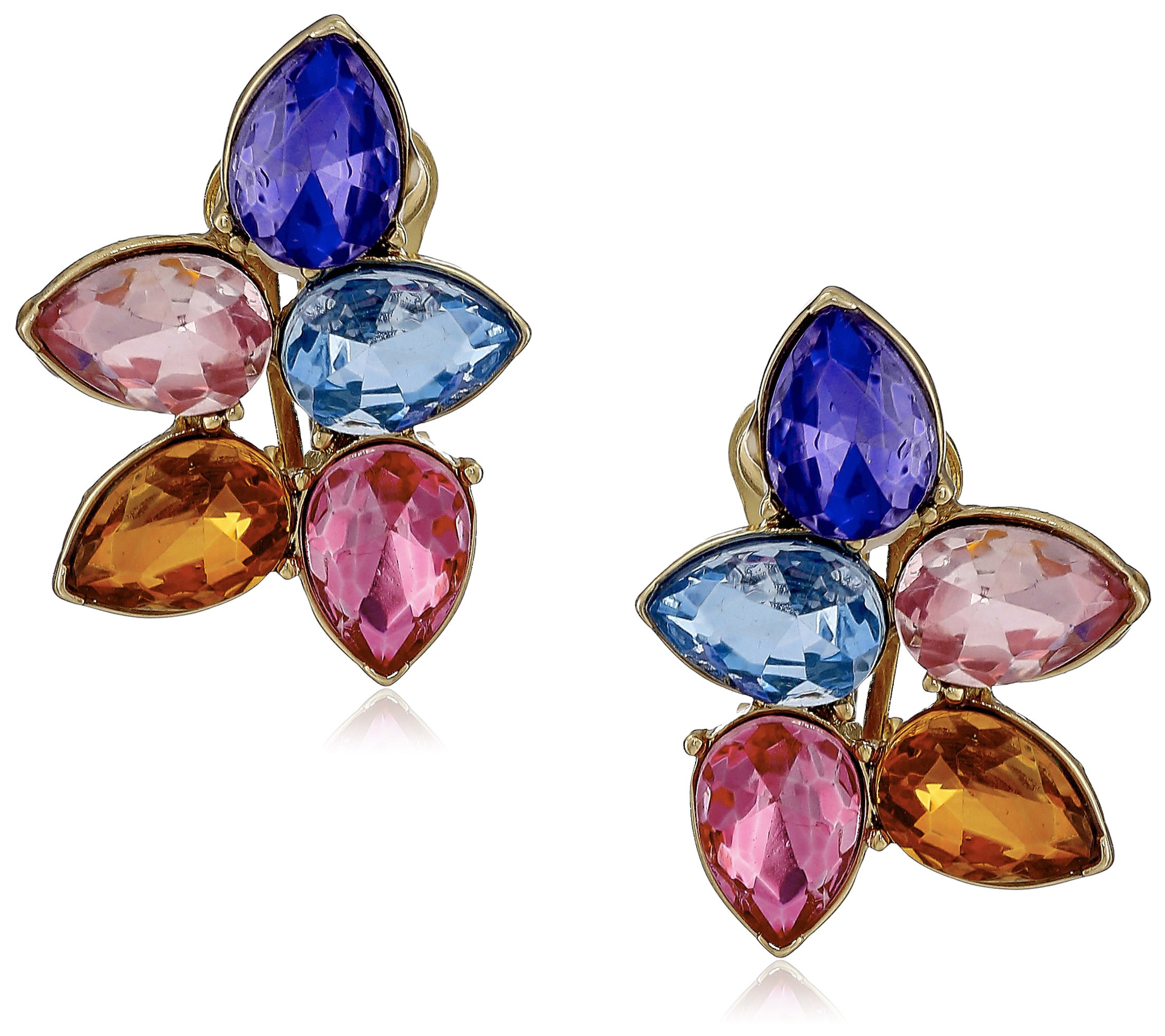 Kenneth Jay Lane Gold/Multi Pastel Teardrop Cluster Clip-On Earrings